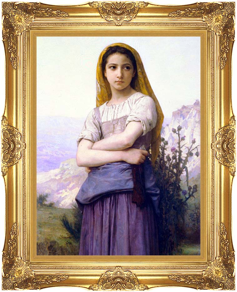 William Bouguereau The Knitter with Majestic Gold Frame