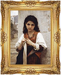 William Bouguereau Young Girl Knitting canvas with Majestic Gold frame