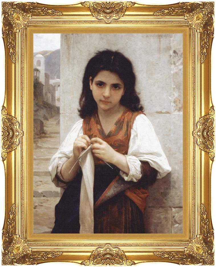 William Bouguereau Young Girl Knitting with Majestic Gold Frame