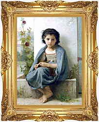 William Bouguereau The Little Knitter canvas with Majestic Gold frame
