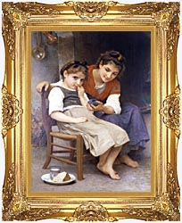 William Bouguereau The Little Sulk canvas with Majestic Gold frame
