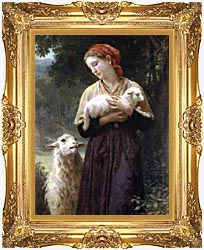 William Bouguereau The Shepardess canvas with Majestic Gold frame