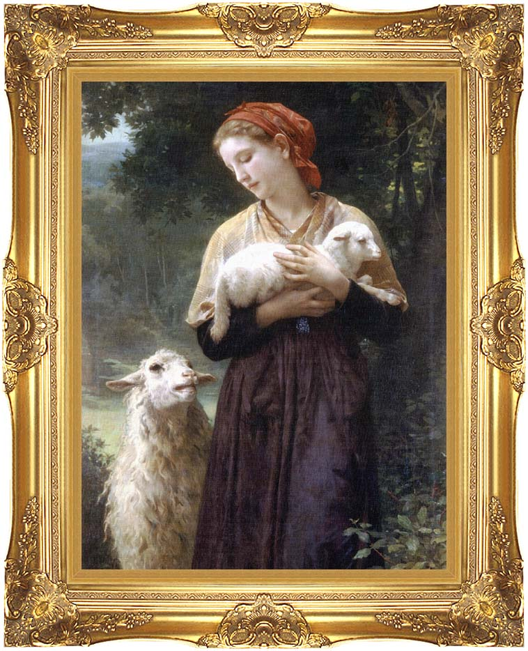 William Bouguereau The Shepardess with Majestic Gold Frame