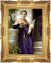 William Bouguereau The Spinner canvas with Majestic Gold frame
