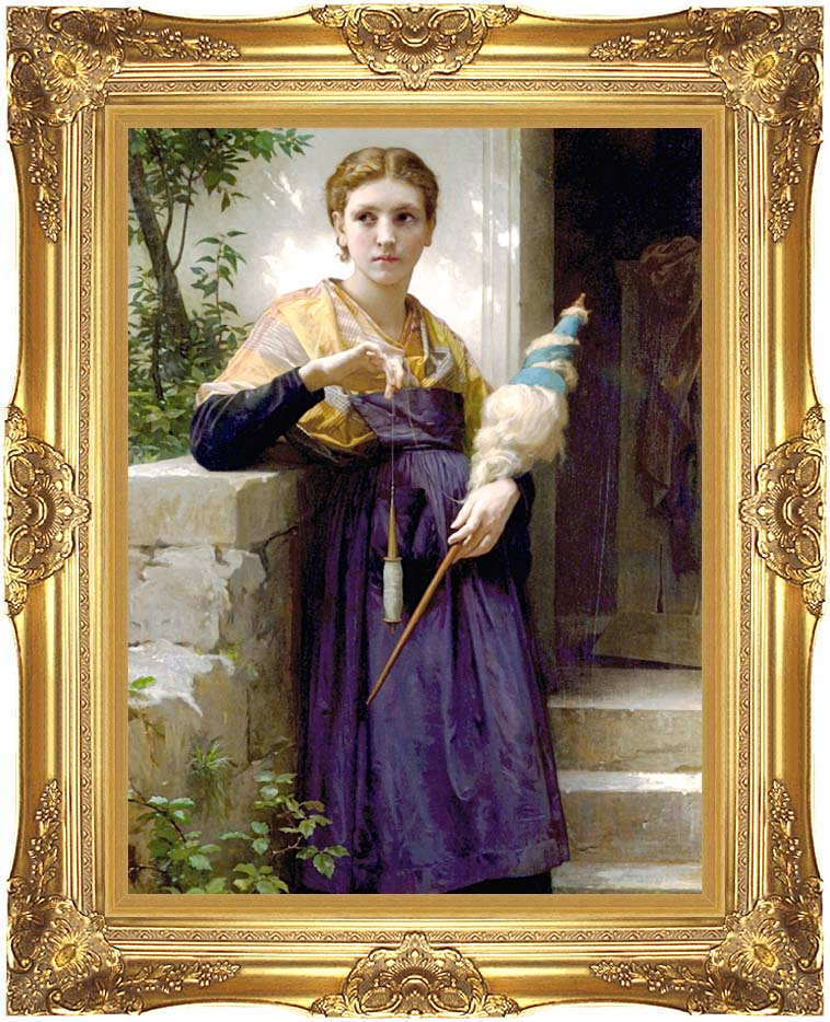 William Bouguereau The Spinner with Majestic Gold Frame