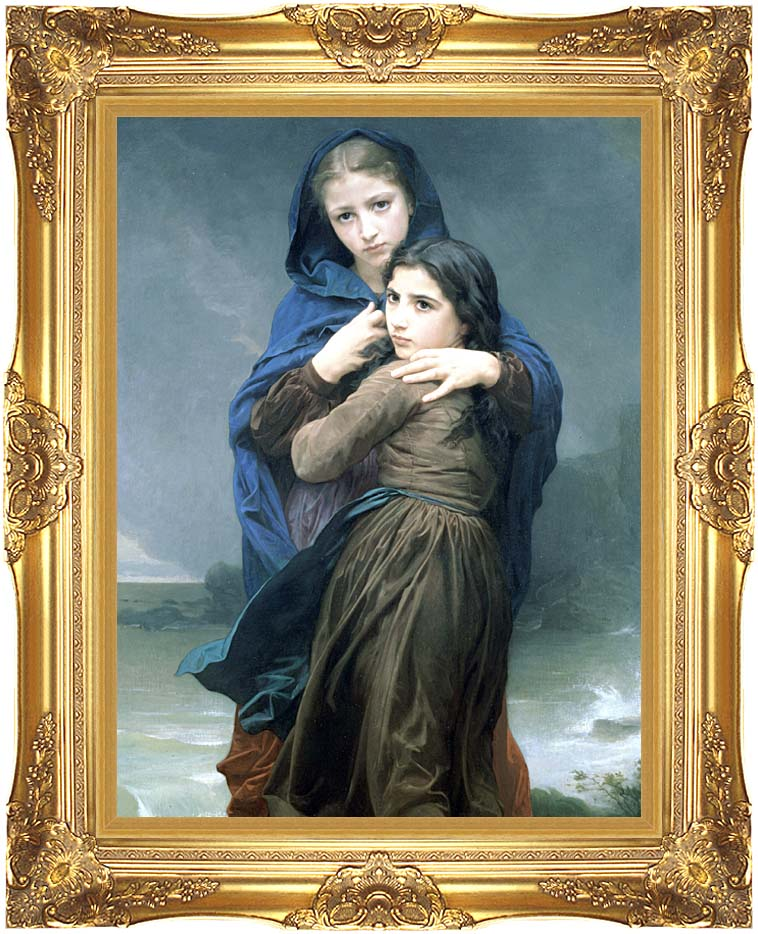 William Bouguereau The Storm with Majestic Gold Frame