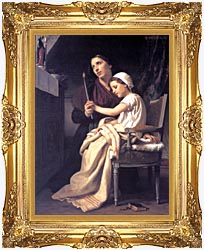 William Bouguereau The Thank Offering canvas with Majestic Gold frame