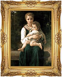 William Bouguereau The Two Sisters canvas with Majestic Gold frame