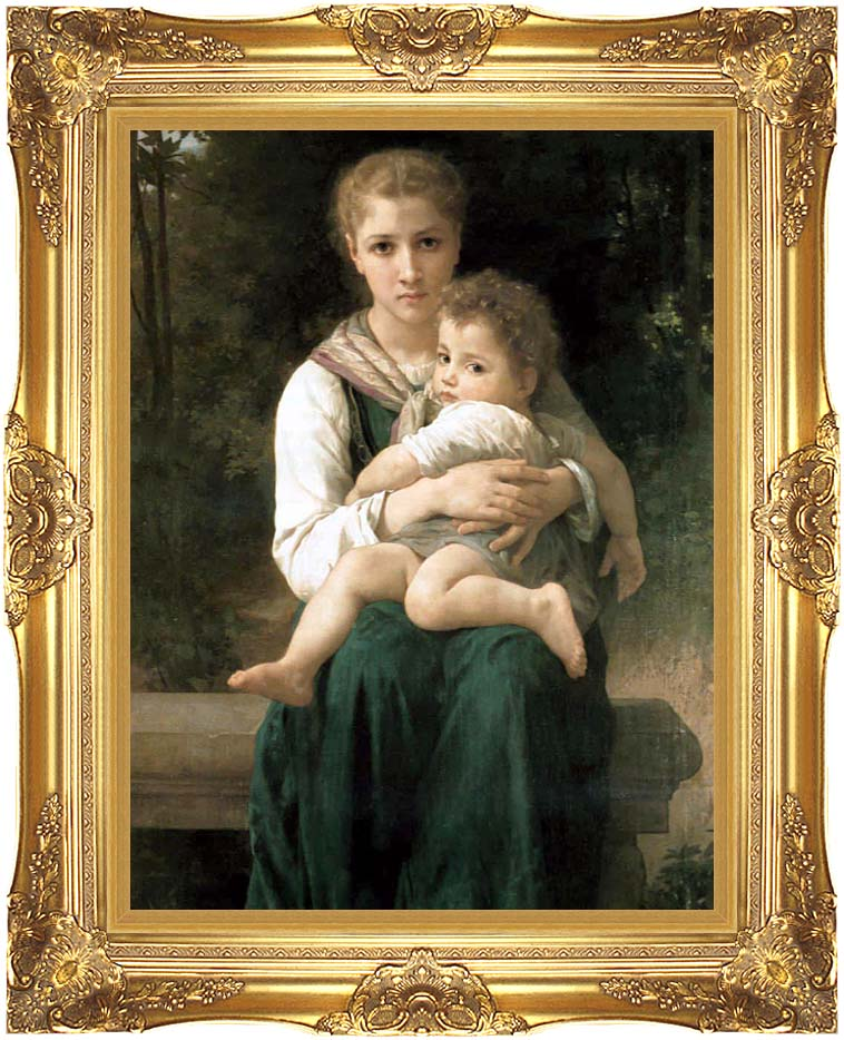 William Bouguereau The Two Sisters with Majestic Gold Frame