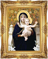 William Bouguereau The Virgin Of The Lilies canvas with Majestic Gold frame