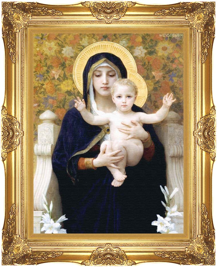 William Bouguereau The Virgin of the Lilies with Majestic Gold Frame