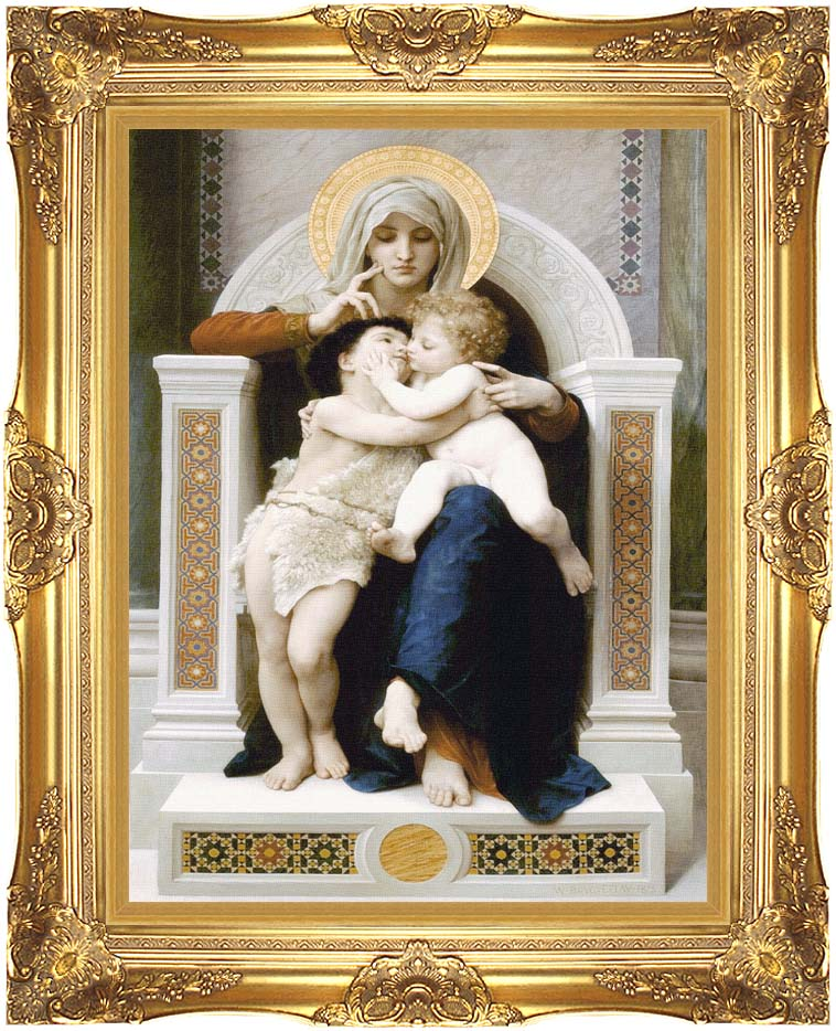 William Bouguereau The Virgin, Baby Jesus, and Saint John the Baptist with Majestic Gold Frame