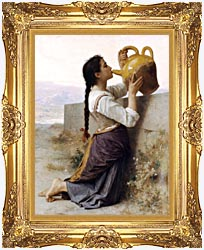 William Bouguereau Thirst canvas with Majestic Gold frame