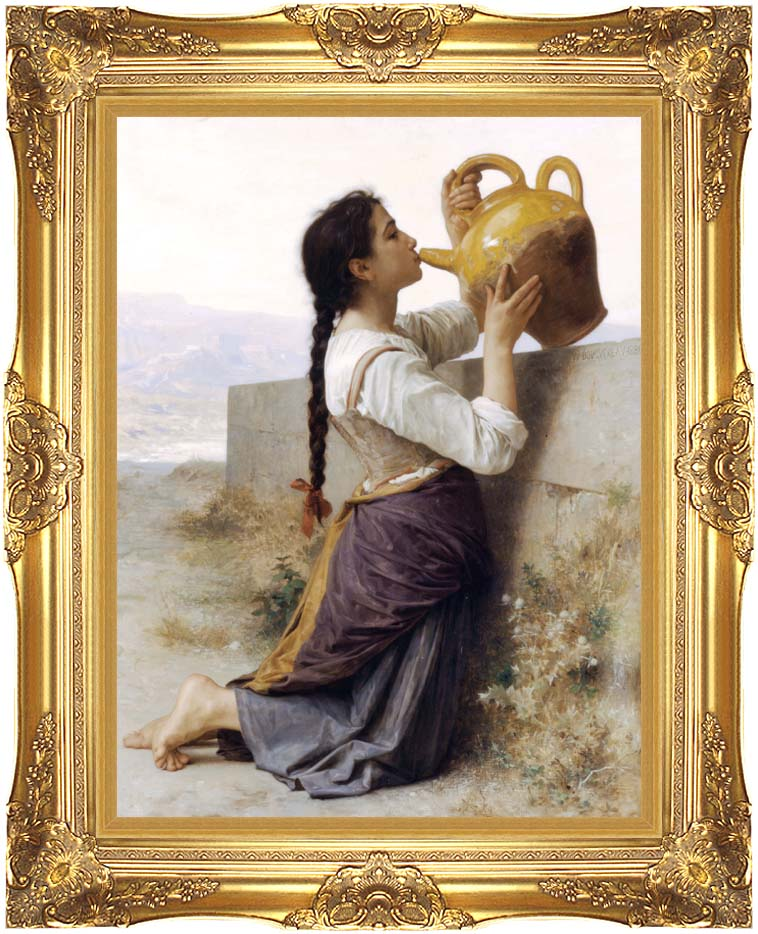 William Bouguereau Thirst with Majestic Gold Frame