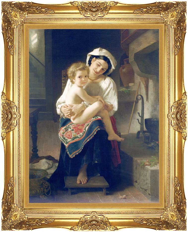 William Bouguereau Up You Go with Majestic Gold Frame