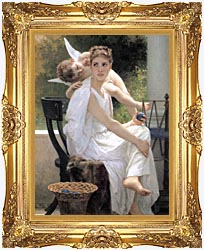 William Bouguereau Work Interrupted canvas with Majestic Gold frame