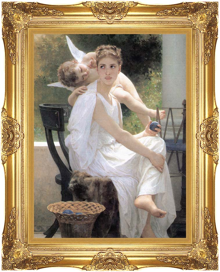William Bouguereau Work Interrupted with Majestic Gold Frame