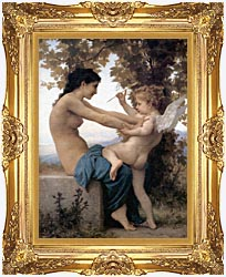 William Bouguereau Young Girl Defending Herself Against Love canvas with Majestic Gold frame