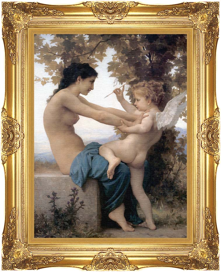 William Bouguereau Young Girl Defending Herself Against Love with Majestic Gold Frame