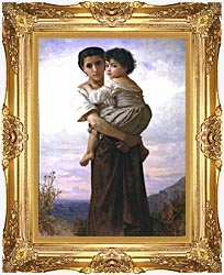 William Bouguereau Young Gypsies canvas with Majestic Gold frame
