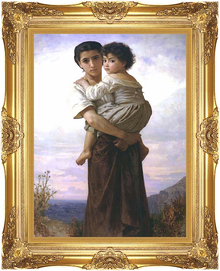 William Bouguereau Young Gypsies with Majestic Gold Frame