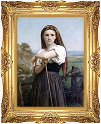 William Bouguereau Young Shepherdess canvas with Majestic Gold frame