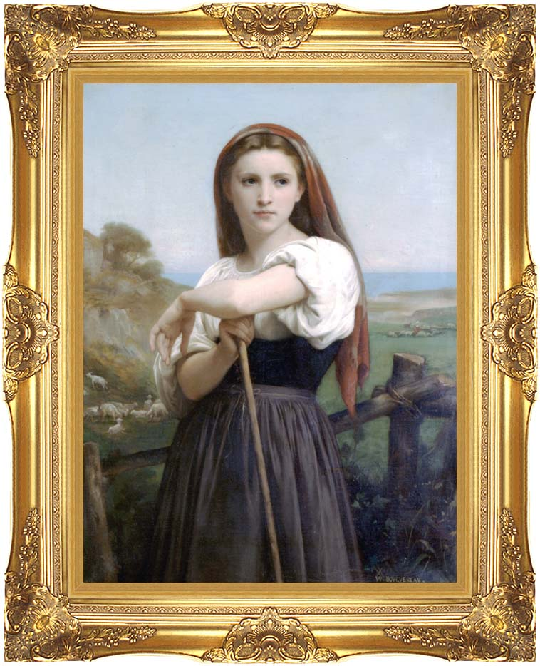 William Bouguereau Young Shepherdess with Majestic Gold Frame