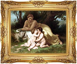 William Bouguereau Young Woman And Children Embracing canvas with Majestic Gold frame