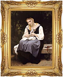 William Bouguereau Young Worker canvas with Majestic Gold frame