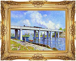 Claude Monet The Railroad Bridge Argenteuil canvas with Majestic Gold frame