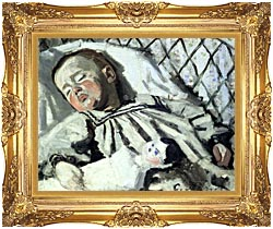 Claude Monet The Artists Son Asleep canvas with Majestic Gold frame