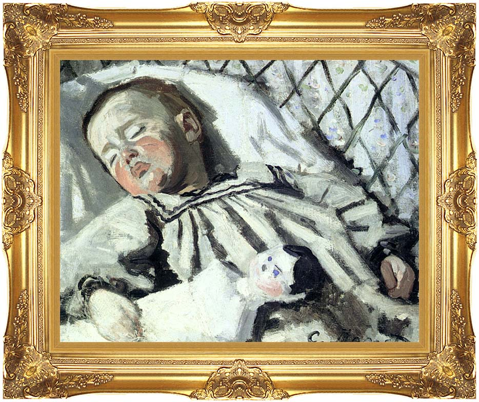 Claude Monet The Artist's Son Asleep with Majestic Gold Frame