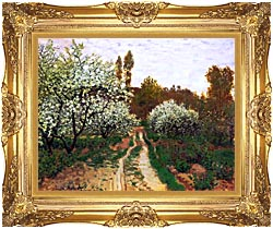 Claude Monet Flowering Apple Trees canvas with Majestic Gold frame