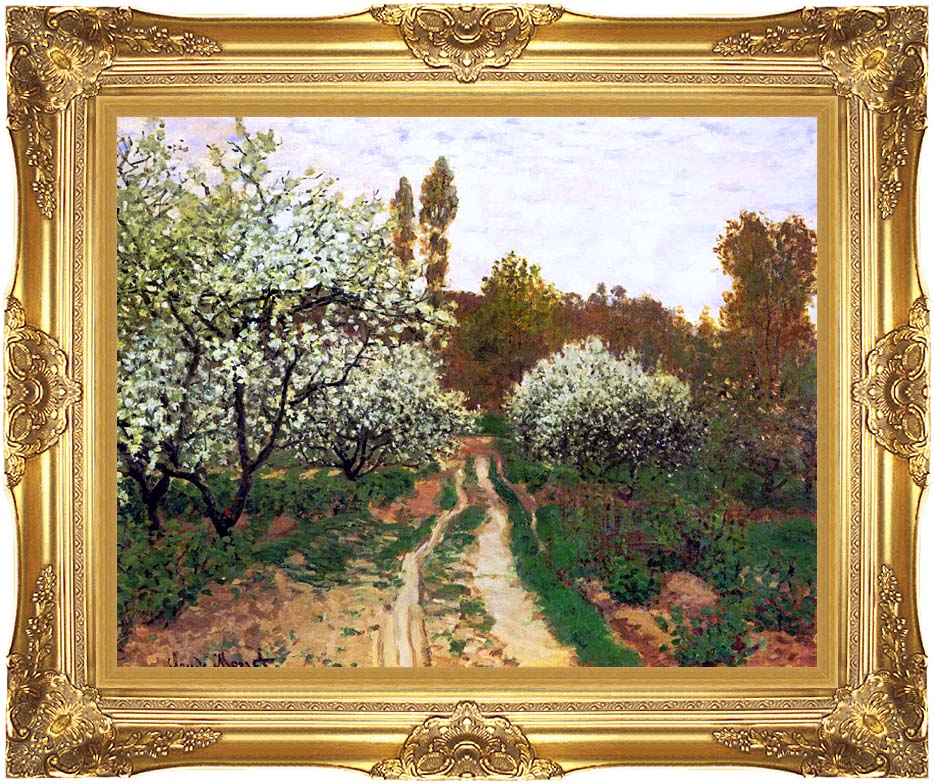 Claude Monet Flowering Apple Trees with Majestic Gold Frame