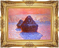 Claude Monet Haystacks Snow Effect canvas with Majestic Gold frame