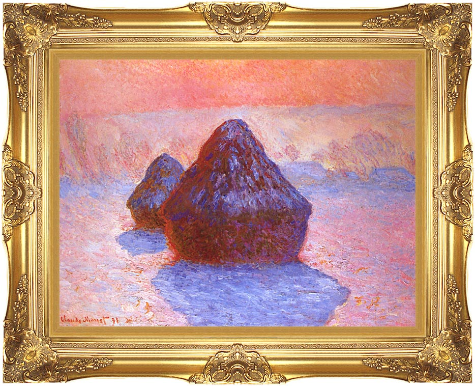 Claude Monet Haystacks, Snow Effect with Majestic Gold Frame
