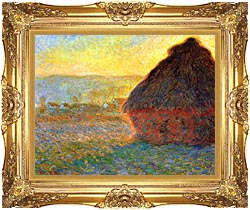 Claude Monet Haystack At Sunset Near Giverny canvas with Majestic Gold frame