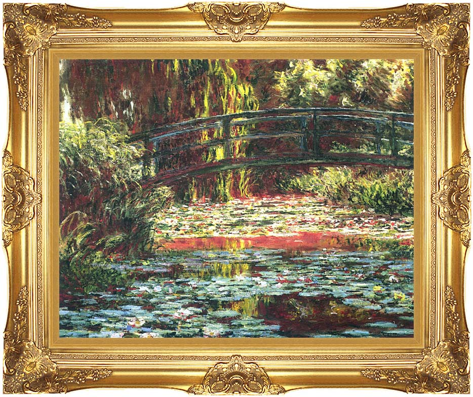 Claude Monet Japanese Foot Bridge at Giverny with Majestic Gold Frame