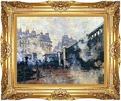 Claude Monet Le Pont De Leurope 1877 canvas with Majestic Gold frame