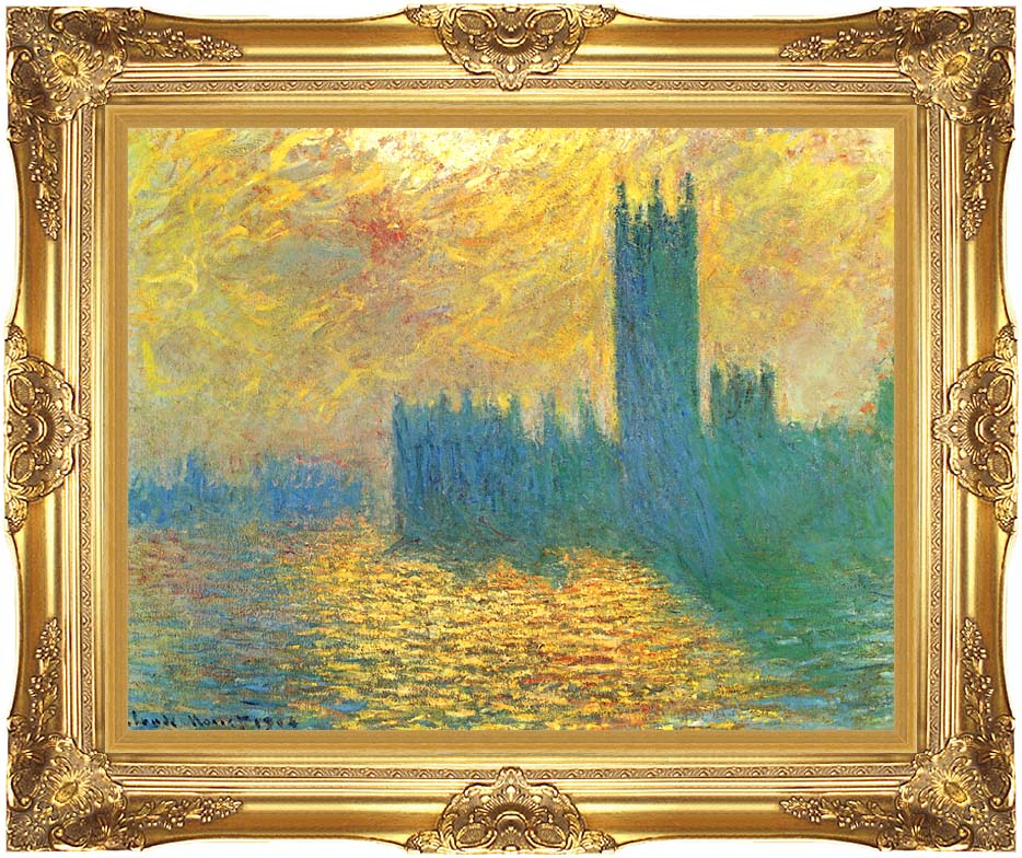 Claude Monet London, The Houses of Parliament, Stormy Sky with Majestic Gold Frame