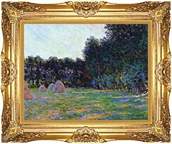 Claude Monet Meadow With Haystacks Near Giverny canvas with Majestic Gold frame