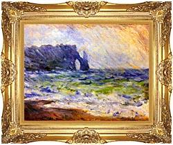 Claude Monet Rain At Etretat canvas with Majestic Gold frame