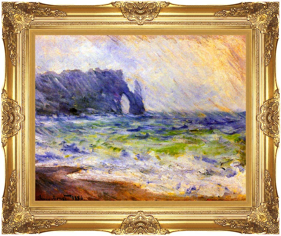 Claude Monet Rain at Etretat with Majestic Gold Frame