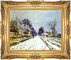 Claude Monet Road At Louveciennes Snow Effect canvas with Majestic Gold frame