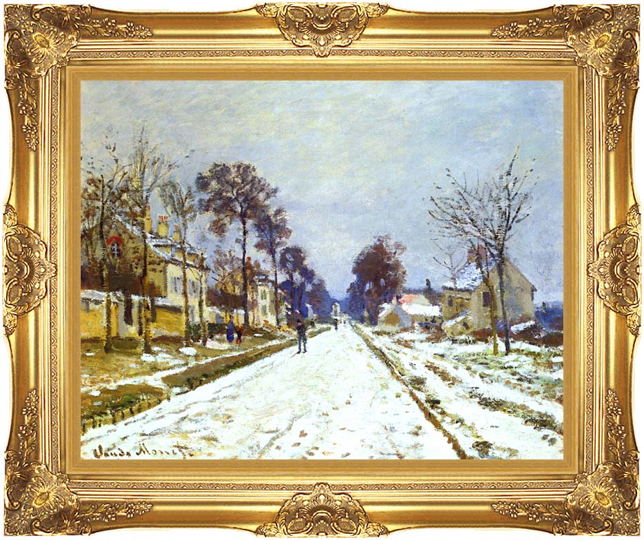 Claude Monet Road at Louveciennes, Snow Effect with Majestic Gold Frame
