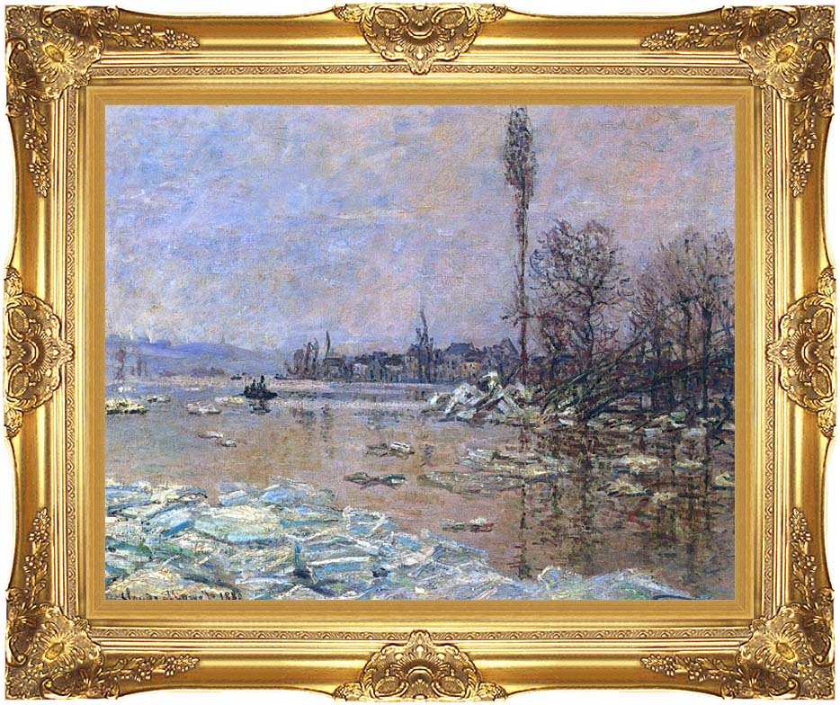 Claude Monet The Ice Floes with Majestic Gold Frame