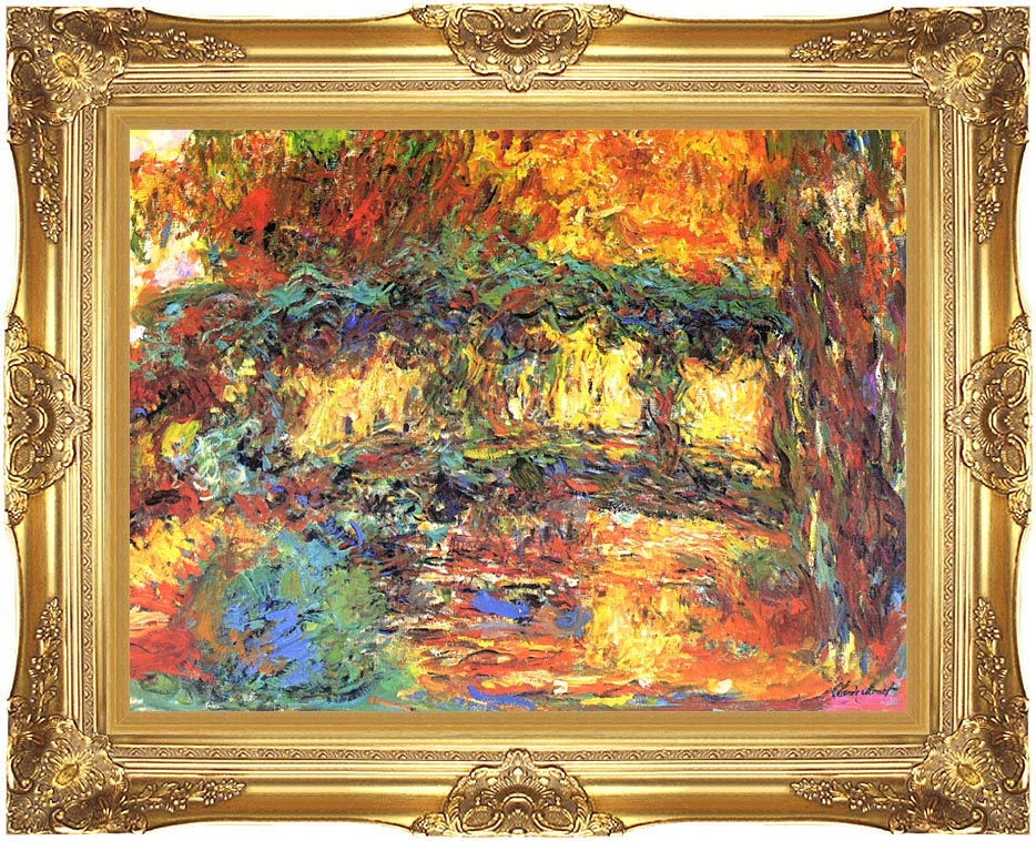 Claude Monet The Japanese Footbridge with Majestic Gold Frame