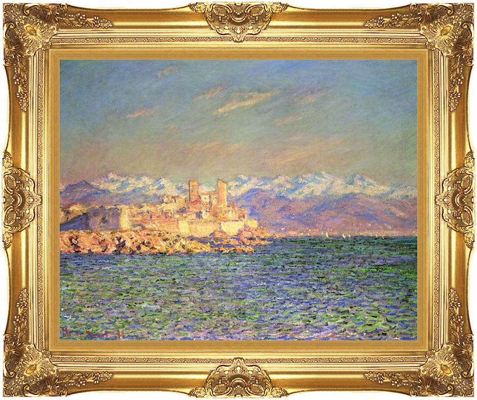 Claude Monet The Old Fort at Antibes with Majestic Gold Frame
