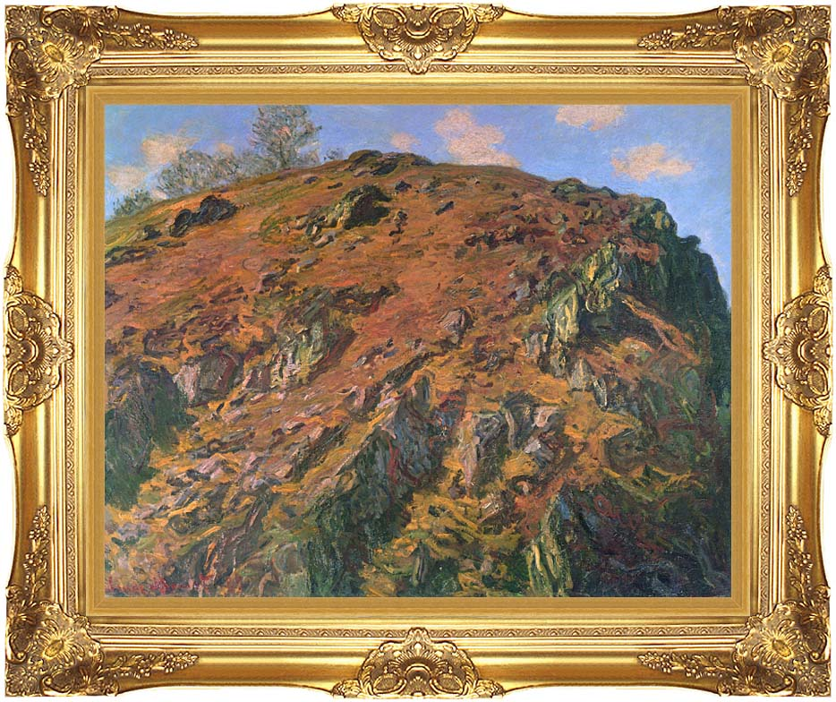 Claude Monet The Rock with Majestic Gold Frame