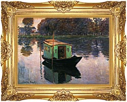 Claude Monet The Studio Boat canvas with Majestic Gold frame